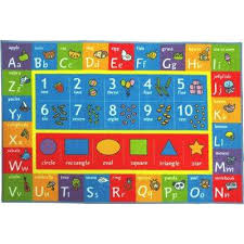 multi color kids children bedroom abc alphabet numbers shapes educational learning 8 ft x