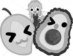 大きな果物とかわいい女の子 ストックベクター Chiharu T 117014458