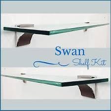 Floating glass shelves Wall Mount Image Is Loading Swanfloatingglassshelfkit38034 Ebay Swan Floating Glass Shelf Kit 38