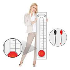 Goal Setting Fundraising Thermometer Chart 11x48 Giant Progress Meter Board Corrugated Plastic Company Sales Milestone Tracking Wall Charts