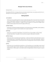 Restaurant Manager Review Forms Employee Review Restaurant Employee Review Form