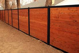 horizontal wood and metal fence. Fine And Horizontal Wood Fence With Metal Posts On And FenceTrac