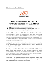 top 10 furniture companies. Man Wah Ranked As Top 10 Furniture Sources For U.S. Market - DocShare.tips Companies