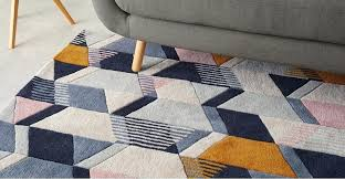 ava large geometric hand tufted wool rug 160 x 230cm tonal blue blue geometric rug navy