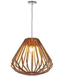 stockholm light squat flair pendant in natural wood