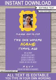 Birthday Invatations Friends Themed Birthday Invitations Template Purple