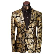 Suit Pattern Interesting 48 Fg48 Luxury Men Suit Golden Floral Pattern Suit Jacket Men
