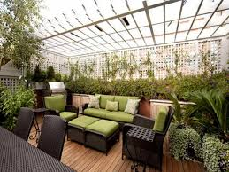 rooftop furniture. Tropical Rooftop Garden Ideas With Covered Top Using Outdoor Wicker Furniture Green Cushions E