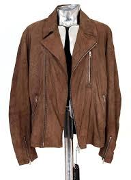 Designer Suede Jacket Paul Smith Suede Perforated Leather Biker Jacket Brown Eu56 Xxl