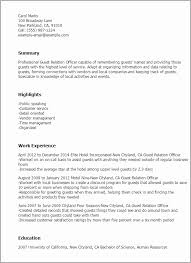 Guest Relation Officer Sample Resume