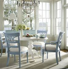 blue dining room set. Flexible And Multifunctional, This Round Pedestal Table Open Back Chairs Dining Set Can Be Blue Room F