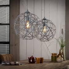 Hanglamp Tweelichts Bol 40 Cm Doorsnee Betonlook Concrete Gedraaid