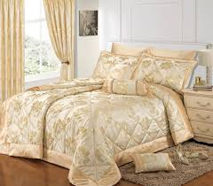 cream gold colour stylish fl jacquard luxury embellished quilted bedspread