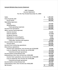 Profit And Loss Statement For Restaurant Template Income Statement 18 Free Pdf Excel Word Documents