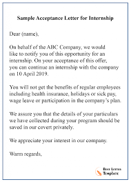 Internship Acceptance Letter Template Format Sample Example