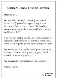 Letter Format For Internship Application Internship Acceptance Letter Template Format Sample Example
