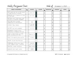 Weekly Homework Planner Homeschool Weekly Assignment Planner