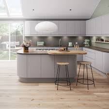 Magnet Luna Kitchen in matt grey with island and sloping white ceiling