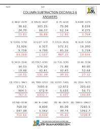 5th Grade Math Practice Subtracing DecimalsDecimal Column Subtraction 6 · Sheet 6 Answers. 5th Grade ...