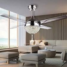 Living Room Ceiling Fan Best RainierLight Modern Crystal Ceiling Fan Lamp LED 488 Changing Light 48