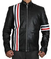 black leather motorcycle jacket black zipper biker leather jacket red and white stripe jacket