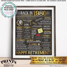 decorative chalkboards for various functions. Retirement Party Decorations, Back In 1980 Poster, Flashback To Decor, Chalkboard Style PRINTABLE 16x20\u201d Sign Decorative Chalkboards For Various Functions N