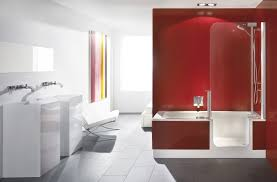 Contemporary Apartment Red Bathroom Design With White Gloss Vanity Panel As  Well As Modern Standing Tub Also Colorful Curtain Window Bathroom Treatment  ...