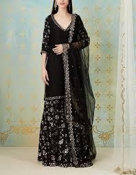 Black Sharara Designs Black Zari Mirror Jaal Work Sharara Set Sharara Designs