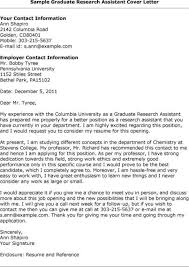 Cover Letter Research Assistant Research Assistant Cover Letter For