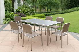 contemporary metal furniture. Contemporary Stainless Steel Outdoor Metal Furniture Wonderful Six Chairs Metalic Best Property Nature Garden Luxurious Design Silver Stained Grass T