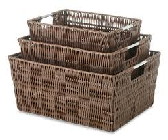 Whitmor Rattique Storage Baskets Java Set of 3 - Walmart.com