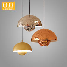 oti lighting pendant lights wire metal shade led e27 holder ufo lamp gold silver yellow 1pcs