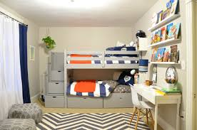 gray bunk beds orange blue bedding young boy s bedroom