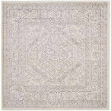 adirondack ivory silver 10 ft x 10 ft square area rug