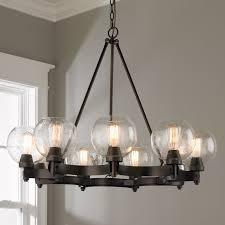 rustic lighting chandeliers. Rustic Seeded Globe Chandelier - 9 Light Lighting Chandeliers N