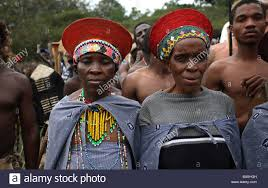 zulu women in traditional clothing stock image