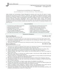 Construction Operation Manager Resume Project Manager Resume Template Chanceinc Co