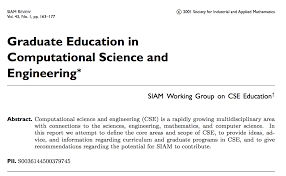 Research And Education In Computational Science And Engineering