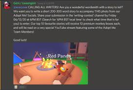 Founded in september 8, 2017, the wiki staff team is dedicated to provide the best experience for all adopt me! Adopt Me On Twitter We Have A Writing Competition Going On In Our Discord Right Now More Information In Announcements And Make Sure To Read The Rules Before You Start Chatting