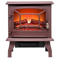 400 sq ft electric stove in brown with vintage glass door realistic flame and logs
