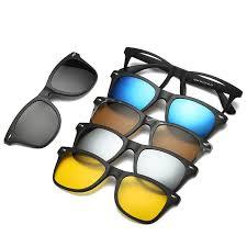 5 in 1 <b>TR</b>-90 <b>Polarized Magnetic Glasses</b> Clip On <b>Magnetic</b> Len ...