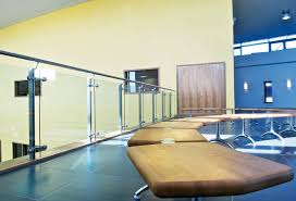 Stainless steel railing / glass panel / indoor / for mezzanines - QUICKRAIL
