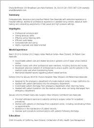 Resume Templates: Patient Care Associate