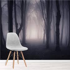 Donker Misty Woods Muurschildering Bos Amp Bomen Fotobehang