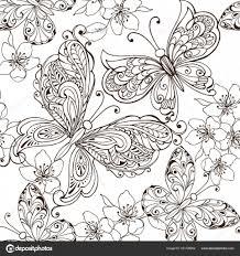 Hand Getekend Bloemen En Vlinders Voor De Anti Stress Kleurplaten