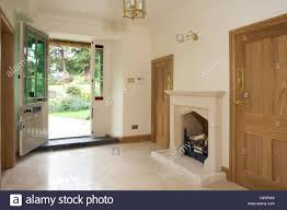 house front door open. Newly Refurbished Empty Upmarket Entrance Hall, Front Door Open. - Stock  Image House Open