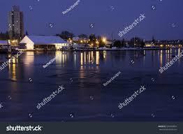 Harbor Lights Boat Boat Docks Harbor Lights Reflecting Partially Stock Photo