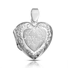 vintage style embossed love you heart shape locket pendant 925 sterling silver necklace for women