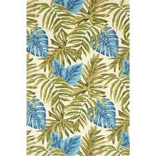 palm leaf rug indoor outdoor hand hooked green blue tropical palm leaf rug 3 palm leaf