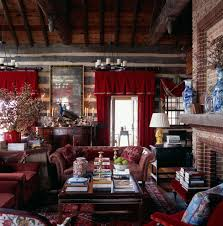 log cabin living room ideas living room rustic with vaulted ceiling red accents area rug